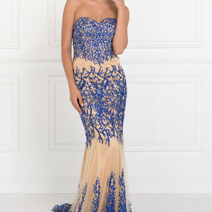 Strapless Long Dress with Sweetheart Neck GL2055
